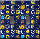 Light Switch Plate Cover - Mexican mosaic tile blue faux finish - Sun moon stars