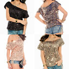 Glittery Celebrity Style Off Shoulder Sequin Top Blouse Club Party 5078 One Size