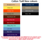 100% Cotton Twill(4x5cm sample colour tester & per metre purchasing) German made