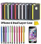 Heavy Duty Defender Silicone/Plastic Dual-layer Case For iPhone 6  w/Styuls Pen