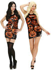 LADIES WOMENS SEXY SHORT SEQUIN PUMPKINS FANCY DRESS HALLOWEEN COSTUME NEW