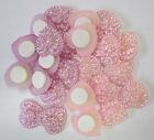 12 Adhesive Heart Embellishments Scrapbooking Card Making in Pink or Lavender