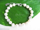 7-8mm AAA Real Cultured Freshwater Pearl White Shamballa Beads Bracelet Occasion