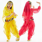 Kids Girls Belly Dance Costume (Long-sleeve Top,Colored Sequins Pants) 3 Colors