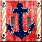 Light Switch Plate Cover - Sailor anchor starry back red - Rope boat sea deco