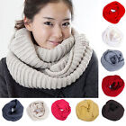 Women&Men Winter Infinity 2 Circles Cable Knit Cowl Neck Long Scarf Shawl