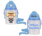 Personalised Child's Drinks Bottle Cup Nursery Playschool School - Cow Boy