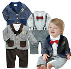 Baby Boy Smart Tuxedo Suit & Jacket Set w Bow Tie, Formal Wedding Party 3-18M