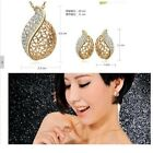 Jewellery Set Necklace Pendant Stud Earrings 18k Gold Plated Crystal Silver