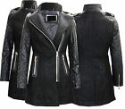 P73 NEW WOMENS PU PVC LADIES LEATHER WOOL LOOK COAT JACKET IN SIZE 08-14