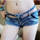 SUPER COOL Hollow Out Low Waist Women Girl Blue Jeans Mini Shorts Pants Trousers
