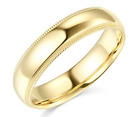 Solid Real 14K Yellow Gold Wedding Anniversary Band Ring Milgrain Mens Womens