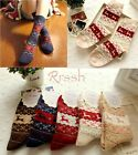 5 Pairs Women Nice Winter Warm Wool Socks Cute Snowflake Deer Girl Charm Socks
