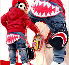 New Size 2-7Years Boys Pants Kids Clothing Big Shark Teeth Jeans PB063B
