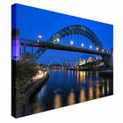 Newcastle Bridge - River Tyne at night Canvas Art Cheap Wall Print Home Interior
