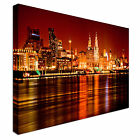 Liverpool Skyline Night Mersey River 40x20 Wall Picture Canvas Art Cheap Print