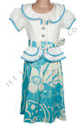 Fancy Girl 4pcs Set Ivory & Teal Floral Dress for all Occasions Sizes 7 to 16