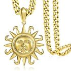 "18-36"" MENS Chain Boy Curb Gold 316L Stainless Steel Tribal Sun PENDANT Necklace"