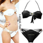 Women Sexy Strappy Base Metal Detachable Tied Halter Padded Swimwears Bikini Set