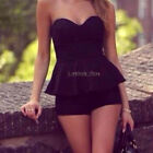 Women Silicone Anti-slip Strip Sweetheart Neck Ruffled Hem Zip Back Suit Rompers