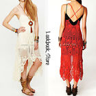 Women Vintage Boho V Neck Plunging Back Criss Cross Strap Crochet Maxi Dress