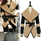 Women Khaki Oversize Lapel Contrast PU Leather Strap Waist Blazer Jacket Coat