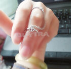Fancy Gold&Silver Thin Simple Chain Peace Love Charm Crystal Double Ring BDUK