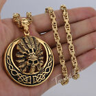 Gothic Indians Chief Men Chain Silver Gold 316L Stainless Steel Pendant Necklace
