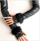 Rabbit Fur Lace Faux Leather Long Gloves Arm warmer Xmas Designer Inspired