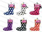 LADIES GIRLS SPOTTED SPOTS SLIPPERS PADDED FLEECE LINED SHERPA SLIPPER BOOTS 4-6