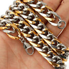 """18""""-36"""" Heavy Strong Silver Gold Stainless Steel Curb Chain Necklace For Mens"""