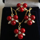 4 color 8MM Coral turquoise jade Crystal Earrings/Ring/Necklace Pendant Set A613