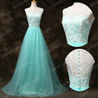 Xmas Eve Vintage LACE Applique Long Sexy Tulle Gown Evening Wedding Prom Dresses