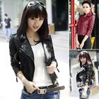 top trendy 2014 Women Slim Fit Synthetic Leather Jacket Coat Short outerwear