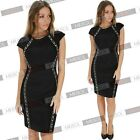 Women's New Style Front Zipper Sequin Bodycon Cocktail Evening Party Dress 4-18