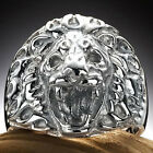 Stainless Steel Attacking Angry Growling King Royal Roaring Lion Ring Size 9-15