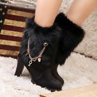 Womens Block High Heel Fur Furry Pull On Metal Ankle Boots Shoes Plus Size UK8.5