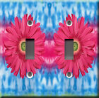 Light Switch Plate Cover - Big colored modern flowers pink - Plant blossom
