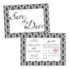 Personalised Save the Date cards VINTAGE DAMASK CALENDAR FREE ENVELOPES & DRAFT