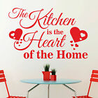 The Kitchen is the Heart of the Home Saying Vinyl Wall Art Sticker Decal