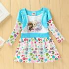 Girl Frozen Princess Elsa and Anna Long Sleeves Dress Clothes Size=18M-6Y