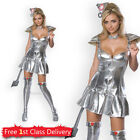 Womens Tin Woman Costume Sexy Wizard of Oz Fancy Dress Ladies Tin Man Outfit