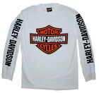 Harley-Davidson Men's T-Shirt, Bar & Shield Long Sleeve Tee, White 30290032