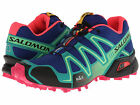 Salomon Womens SPEEDCROSS 3 Blue/Emerld Green/Pink Trail Running Shoes L36644200
