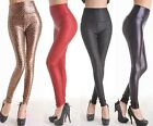 Fashion Black Red Sexy Women Skinny Faux Leather High Waist Pants Tights Shinny