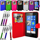 7 Colour Leather Wallet Flip Phone Case For Nokia Lumia 520 + Retractable Pen