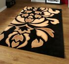Black & Beige Floral Flower Pattern Design Soft Touch Acrylic Pile Rug - 3 Sizes