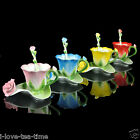 Colorful Roses Coffee Tea Cup Red Pink Yellow Blue Options 1cup 1saucer 1spoon