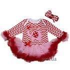 Valentine's Day Baby Chevron Pink Red Elephant Heart Bodysuit Tutu Party Dress