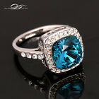 New Blue Crystal Finger Ring Platinum Plated CZ Stone  Wedding Jewelry For Women
